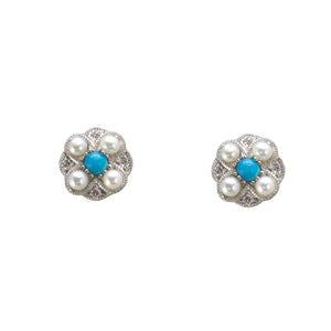 Diamond Pearl and Turquoise Stud Earrings