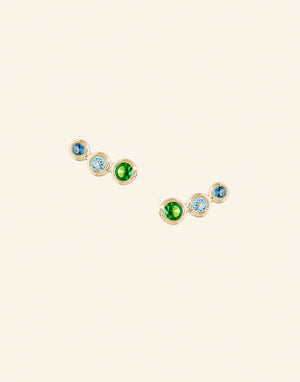 Petite Trio Gemstone Gold Stud Earrings
