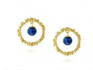 Hoop Earrings with Lapis Lazuli