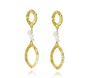 White Pearl and Oval Gold Drop Earrings