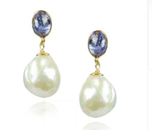 Baroque Pearl and Tanzanite Drop Earrings