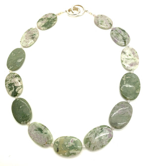 Oval Green and Lavender Agate Necklace