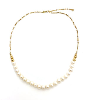 White Pearl and Chain Necklace