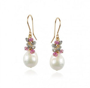 Baroque Pearl Pink Tourmaline Cluster Earrings