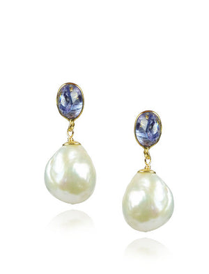 Gem and Pearl Drop Earrings