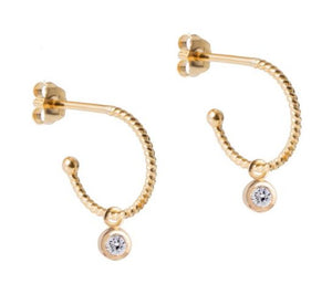 Petite Gold Hoops with Diamond Drops