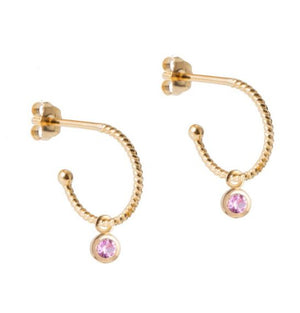 Petite Gold Hoops with Pink Sapphire Pendant