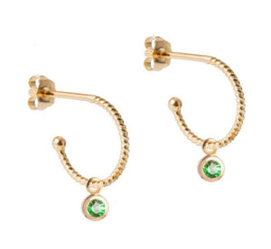 Petite Gold Hoops with Tsavorite Gem Pendant