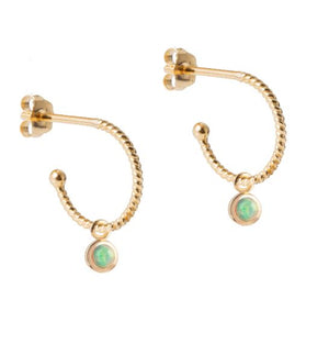 Petite Gold Hoops with Opal Gem Pendant