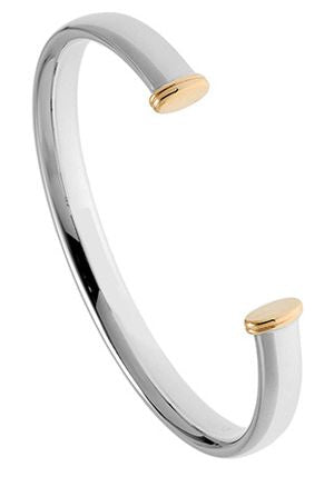 Silver Torq Bangle with Gold Caps