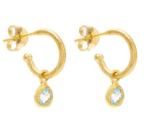 Slim Petite Hoop Earrings with Blue Topaz