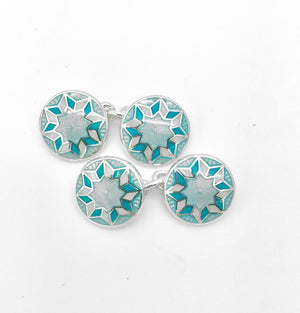 Enamel Round Turquoise and Cream Cufflinks