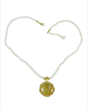 Pearl Necklace with Rutilated Quartz Sunflower Pendant