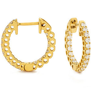 Diamond Yellow Gold Hoop Earrings