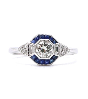 Sapphire and Diamond Hexagonal Cluster Ring