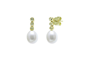 Diamond and Pearl Drop Earrings