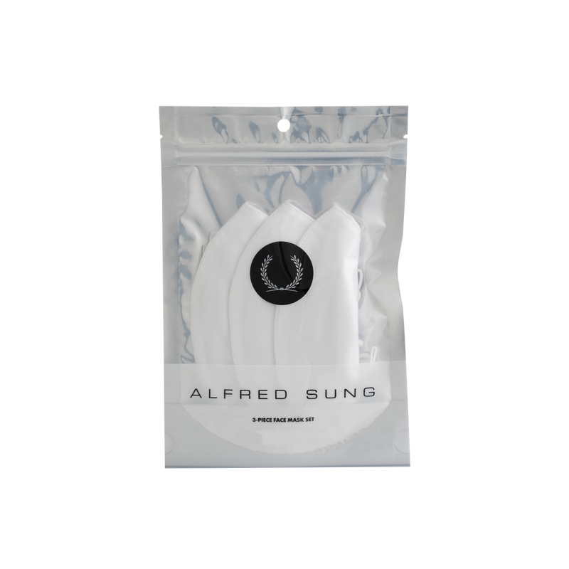 All-White Twill Face Mask 3-Pack - Alfred Sung