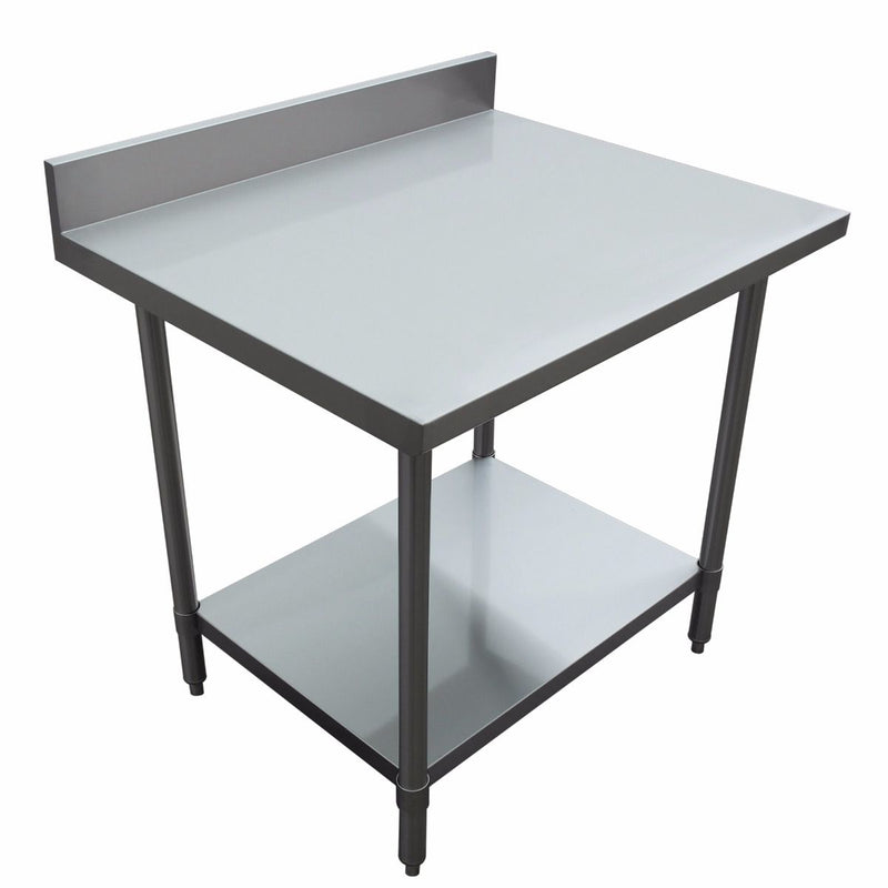 "30"" depth Prep Table with Undershelf, 4"" Backsplash"