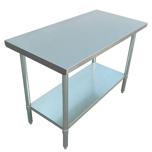 depth, 430 SS, Flat Top Table w/Undershelf