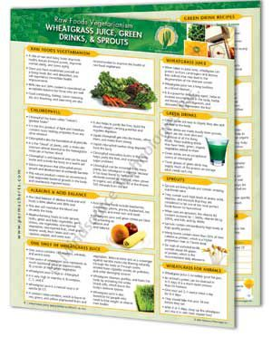 Raw Foods Vegetarianism – Wheatgrass Juice, Green Drinks, & Sprouts Info Chart