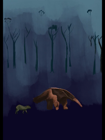 giant anteater and capybara drawing
