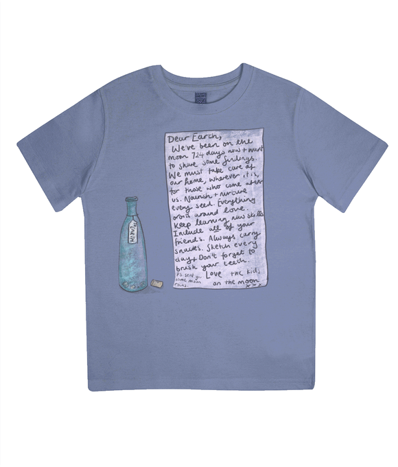 blue organic childrens tee with message from the moon print