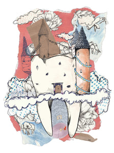 Tooth fairy castle illustration made of teeth