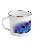 enamel camping mug with father christmas sleigh in night sky