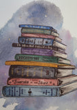 Watercolour stack of old textbooks all about space- art prints by Ink and Tot