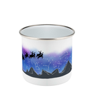 enamel camping outdoor mug with stars and santa and reindeer