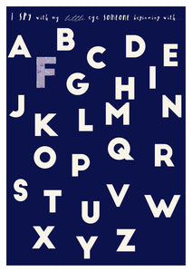 dark blue alphabet print with custom pattern letters