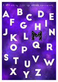 Galaxy print alphebet art with custom pattern letters.