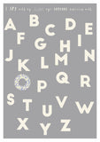 personalised alphabet nursery print grey