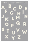 alphabet print for kids room in grey