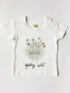 White childrens tshirt with wild flower floral watercolour illustration