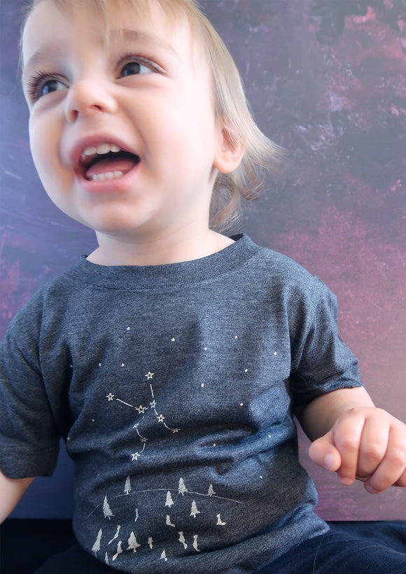 Constellation tshirt for babies-grey tee with wolf constellation of stars- space theme clothing by Ink and Tot