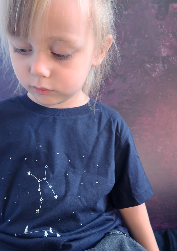 Lupus Constellation design on navy blue kids organic tshirt by Ink and Tot