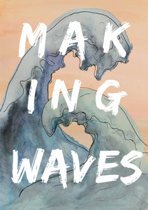 making waves art print in blues and peach