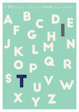 personalised alphabet nursery print mint green