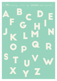 alphabet print for kids room in mint