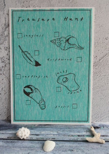 turquoise kids beach activity print on display