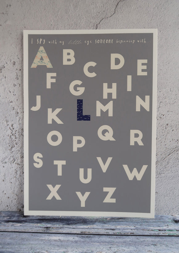 Family alphabet print grey background and patterned letters