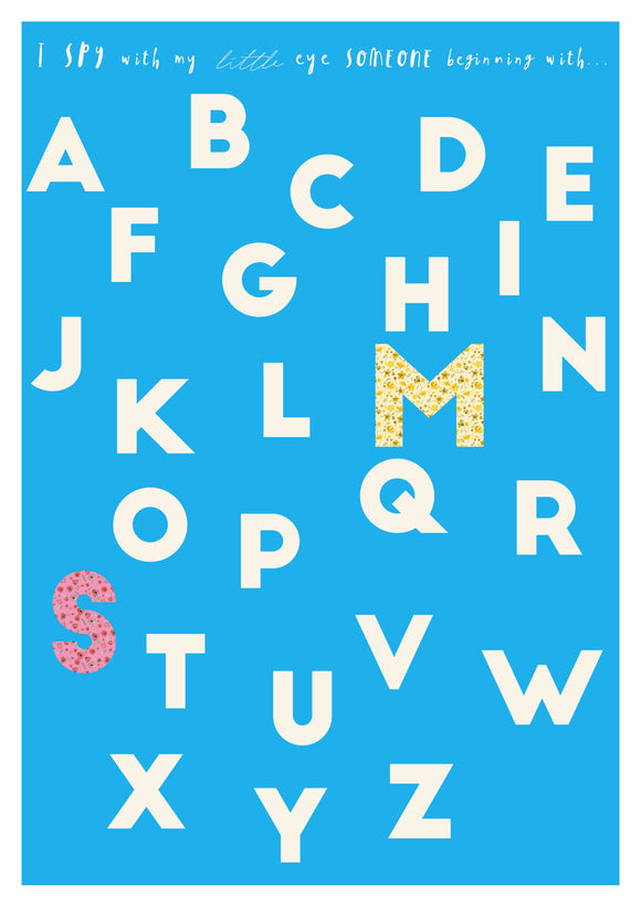 retro blue alphabet print with floral letters