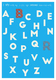 custom colourful alphabet print in blue
