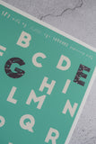 feather pattern detail of green alphabet print