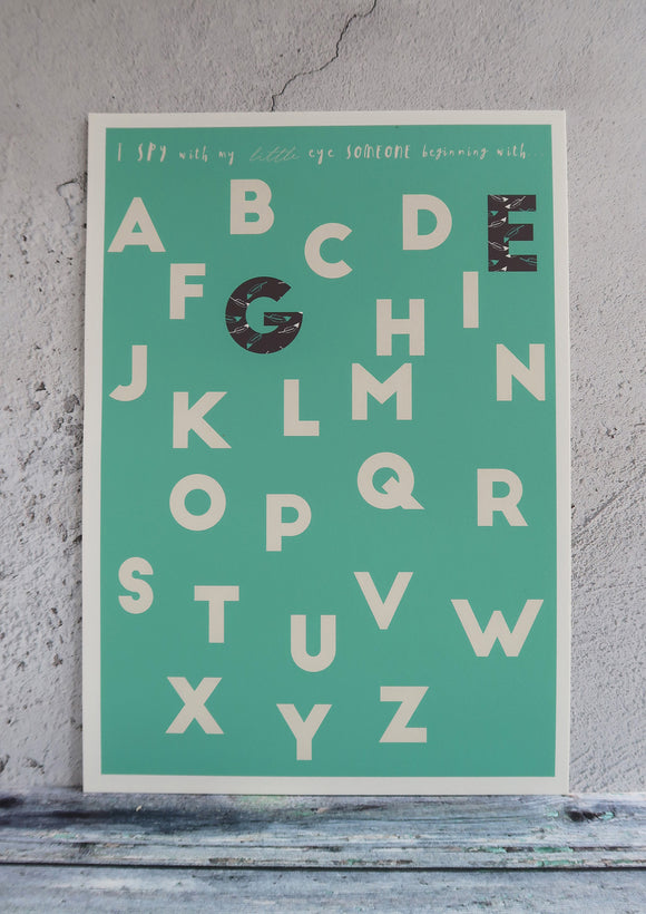 kids green alphabet print with patterned letters