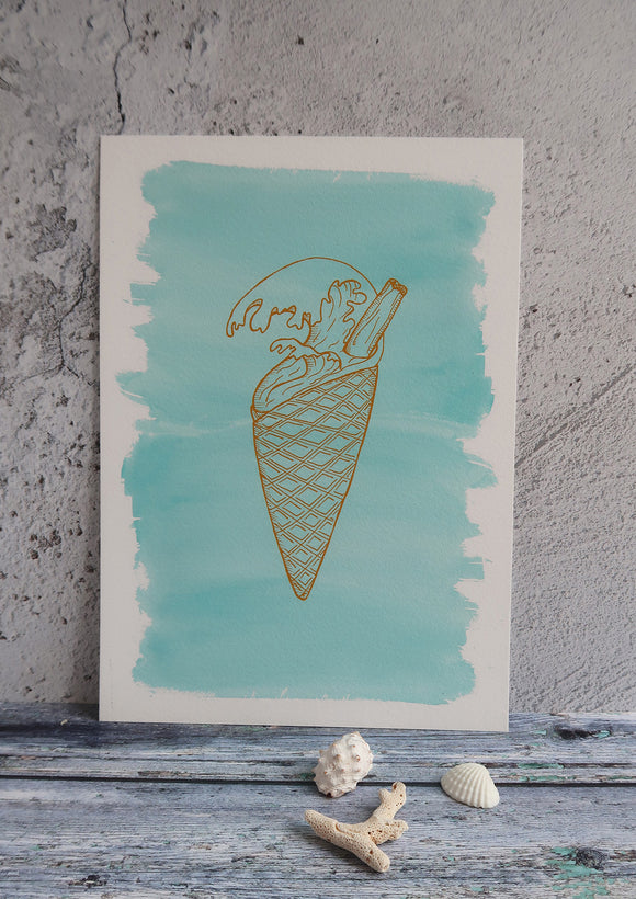 aqua blue print with gold graphic ice cream print
