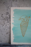 Close up of painted background with ice cream graphic