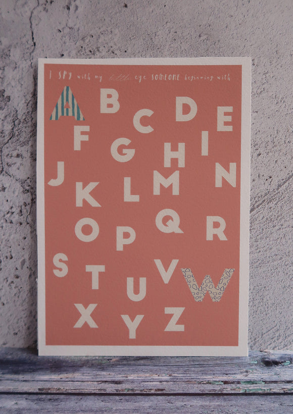 alphabet art print in peach with pattern letters