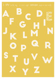 bright yellow alphabet print with personalised details